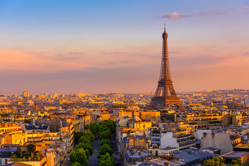 Wall Mural - Skyline of Paris with Eiffel Tower in Paris, France. Panoramic sunset view of Paris