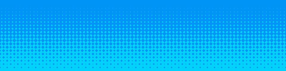 Seamless Screentone Graphics, Halftone Gradation, Diamond Pattern, Blue