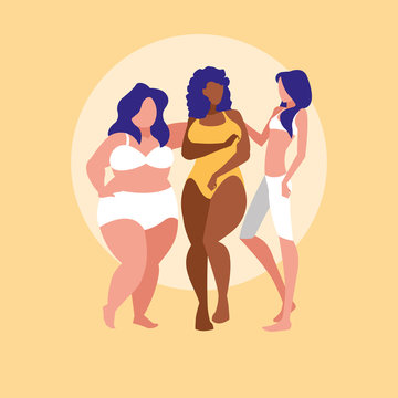 women of different sizes and races modeling underwear