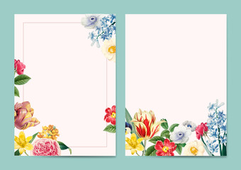 Blank floral invitation copy space