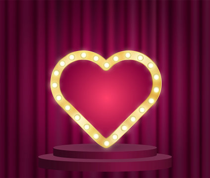 Marquee heart sign with electric bulbs light vector effect on velvet curtains background. Winner award podium with golden metallic frame for romantic wishes, congratulations. Old cinema style poster.