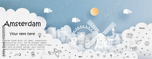 Fototapete Tour and travel advertising template with travel to Amsterdam, The Netherlands with famous landmarks in paper cut style vector illustration
