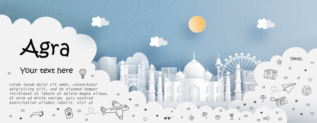 Fototapete - Tour and travel advertising template with travel to Agra, India with famous landmarks in paper cut style vector illustration