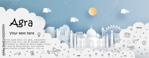 Fototapete Tour and travel advertising template with travel to Agra, India with famous landmarks in paper cut style vector illustration