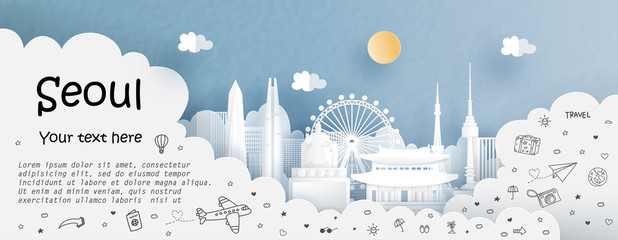 Fototapete - Tour and travel advertising template with travel to Seoul, South Korea with famous landmarks in paper cut style vector illustration