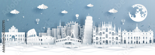 Fototapete Panorama postcard and travel poster of world famous landmarks of Italy in paper cut style vector illustration