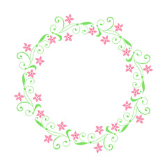 Vector illustration frames flowers leaf green round hand drawn