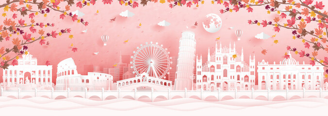 Fototapete - Autumn with falling maple leaves and world famous landmarks in paper cut style vector illustration