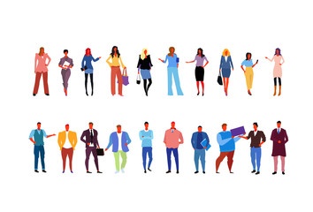 set stylish business people wearing fashionable different office workers business women men standing pose full length cartoon characters collection flat horizontal isolated
