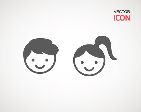 girl and boy icon on white background. child symbol . Kids icons , children vector illustration.
