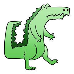 quirky gradient shaded cartoon crocodile