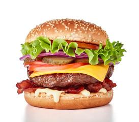 Photo sur Aluminium Snack hamburger isolated on white background