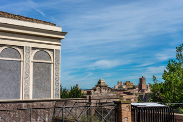 The cityscape skyline of Rome viewed from Palatine hill,Roman Forum