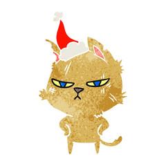 tough retro cartoon of a cat wearing santa hat