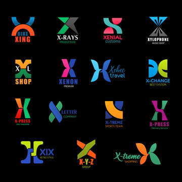 Letter X travel, shop and sport corporate icons