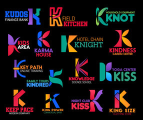 Corporate identity premium style letter K icons