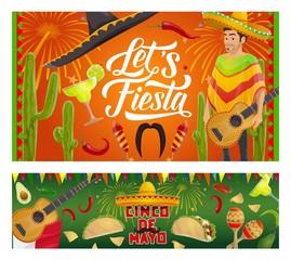 Mexican Cinco de Mayo sombrero, guitar, cactus