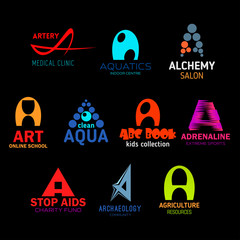 Icons and signs with letter A in abstract shapes