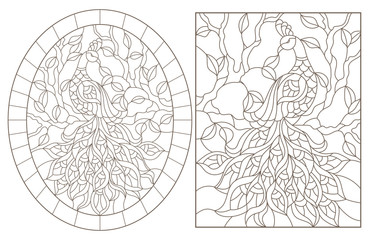 Set of contour illustrations with peacocks on a tree branch, dark outlines on a white background