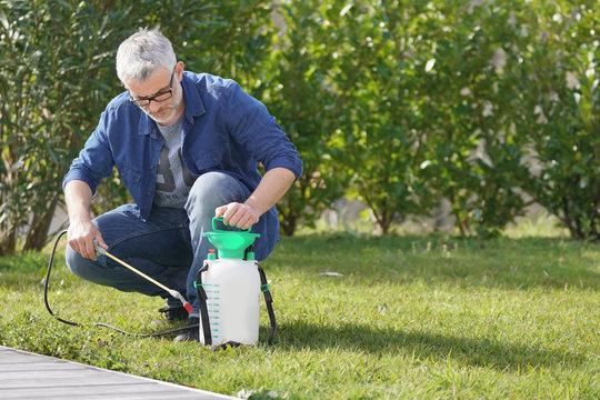 Mature man using garden sprayer in backyard