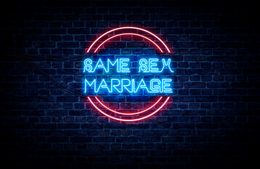 A neon sign in blue and red light on a brick wall background that reads: SAME SEX MARRIAGE