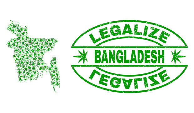 Vector cannabis Bangladesh map mosaic and grunge textured Legalize stamp seal. Concept with green weed leaves. Concept for cannabis legalize campaign.