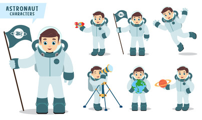 Astronaut man vector character set holding space flag, rocket, telescope and happy exploring planet with spacesuit. Vector illustration.