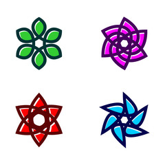 Set Of Flower Icon Vector