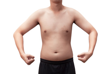 body young  fat isolated on white background with clipping path