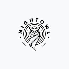 Foto auf Acrylglas Eulen cartoon Nigh Owl Line Art Design concept Illustration Vector Template