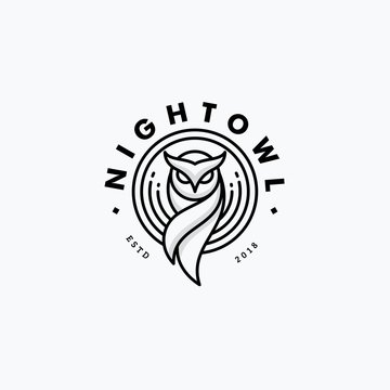 Nigh Owl Line Art Design concept Illustration Vector Template