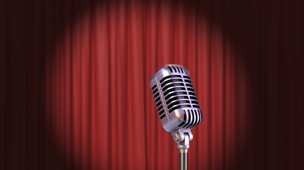 Red Curtain with Spotlight and Vintage Microphone, 3d Render