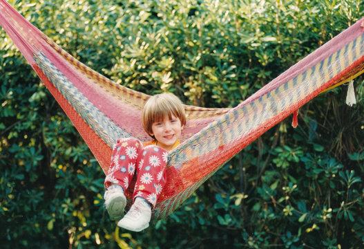 Portrait of little girl in 1980