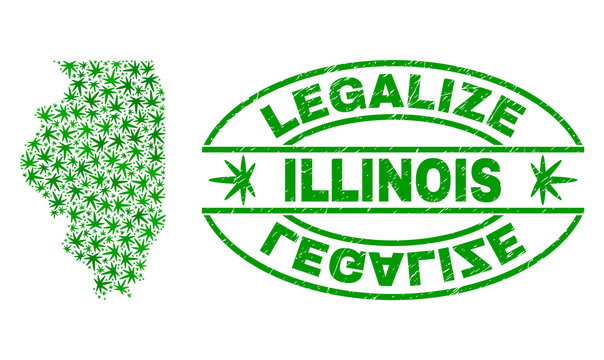 Vector marijuana Illinois State map collage and grunge textured Legalize stamp seal. Concept with green weed leaves. Concept for cannabis legalize campaign.