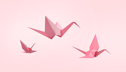 Folding birds Paper and peace on Pastel Pink Background - 3d rendering
