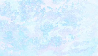 Ice and frost texture light sky blue shades watercolor background. Grunge aquarelle paint paper textured canvas for vintage design, retro card template. Turquoise gradient color handmade illustration