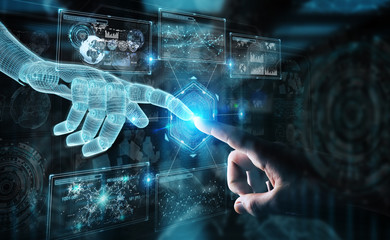 Wireframed robot hand and human hand touching digital graph interface on dark 3D rendering