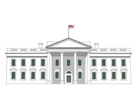 White house high detailed vector illustration. Washington DC capital. White isolated background