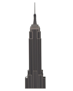 Empire State Building isolated vector illustration. High detailed USA icon. White isolated background