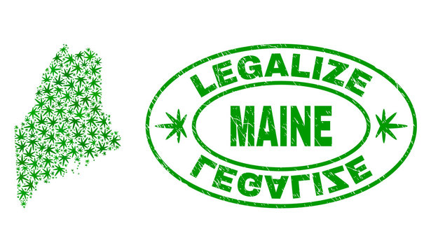 Vector cannabis Maine Land map mosaic and grunge textured Legalize stamp seal. Concept with green weed leaves. Concept for cannabis legalize campaign.