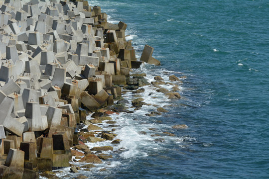 Seawall and ocean waves