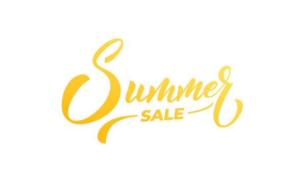 Summer Sale. Summer lettering calligraphy overlay design. Summer sale, discount label.
