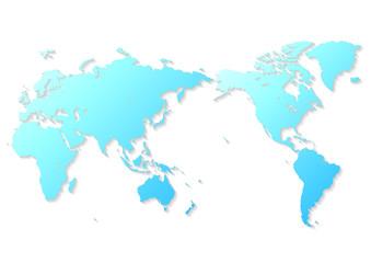 白色の背景と青いグラデーション世界地図