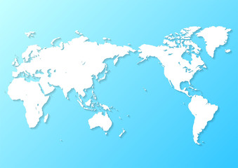 水色の背景グラデーションと白い世界地図