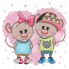 Two Cartoon Rats on a heart background