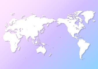 淡いピンクと青色の背景グラデーションと白い世界地図