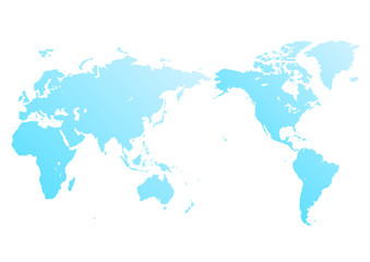 白色の背景と水色のグラデーション世界地図