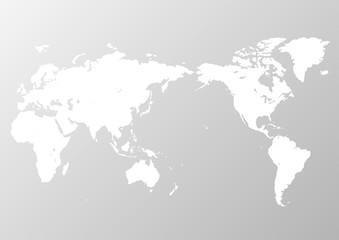 灰色の背景グラデーションと白い世界地図