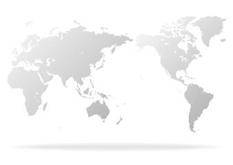 白色の背景とグレーのグラデーション世界地図と影