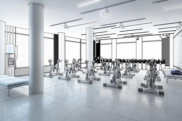 Ergometer im Fitness-Zentrum (Planung) - 3d Illustration